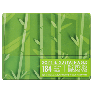 Picture of Bamboo and Sugarcane Facial Tissue - 184 count