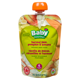 Picture of Organic Baby Food - Harvest Pear, Pumpkin & Banana 6+ months - 128 ml