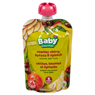 Picture of Organic Baby Food - Summer Cherry, Banana & Spinach 6+ months - 128 ml