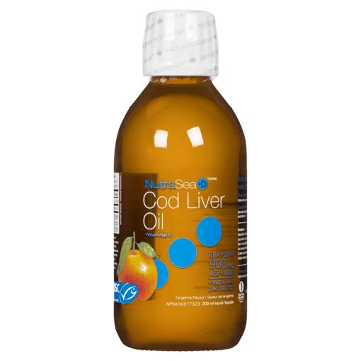 Picture of NutraSea +D Cod Liver Oil - Tangerine 1,000 IU Vit D, 900 mg EPA + DHA - 200 ml