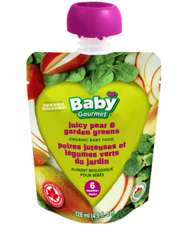 Picture of Organic Baby Food - Juicy Pear & Garden Greens 6+ months - 128 ml