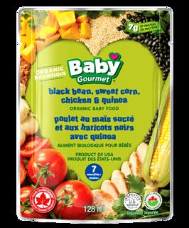 Picture of Organic Baby Food - Black Bean, Sweet Corn, Chicken & Quinoa 7+ months - 128 ml